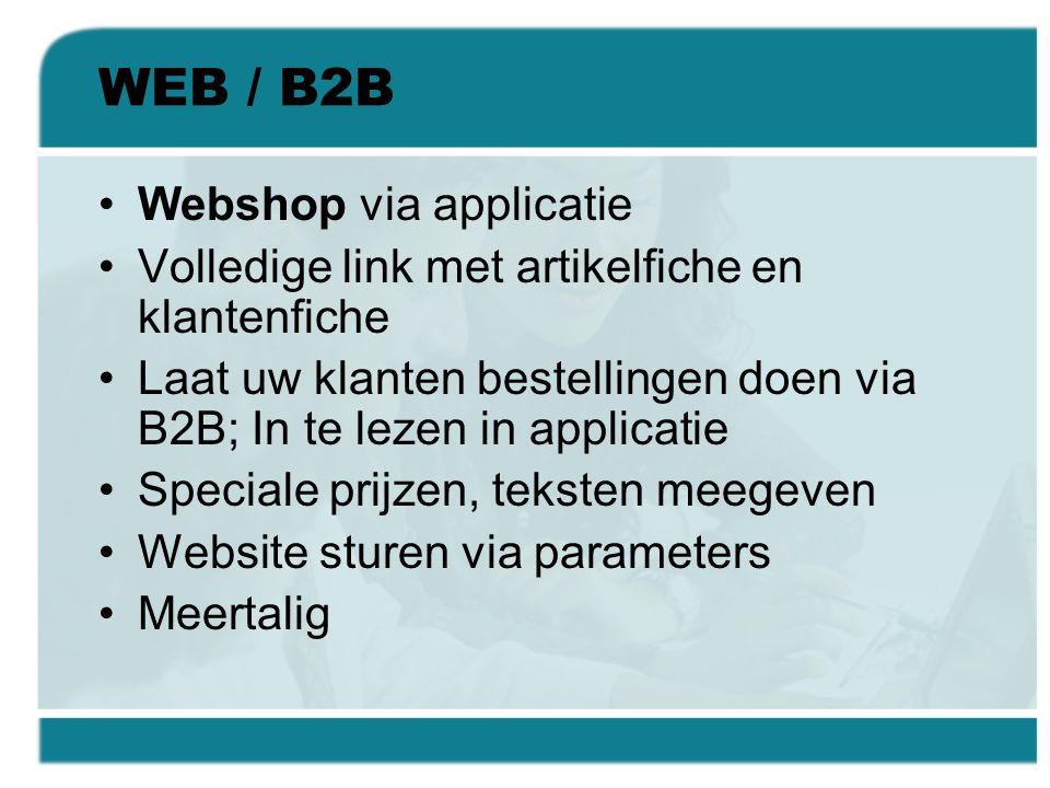 WEB / B2B Webshop via applicatie