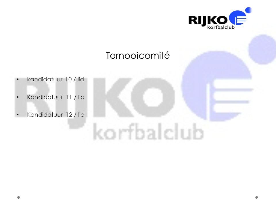 Tornooicomité kandidatuur 10 / lid Kandidatuur 11 / lid