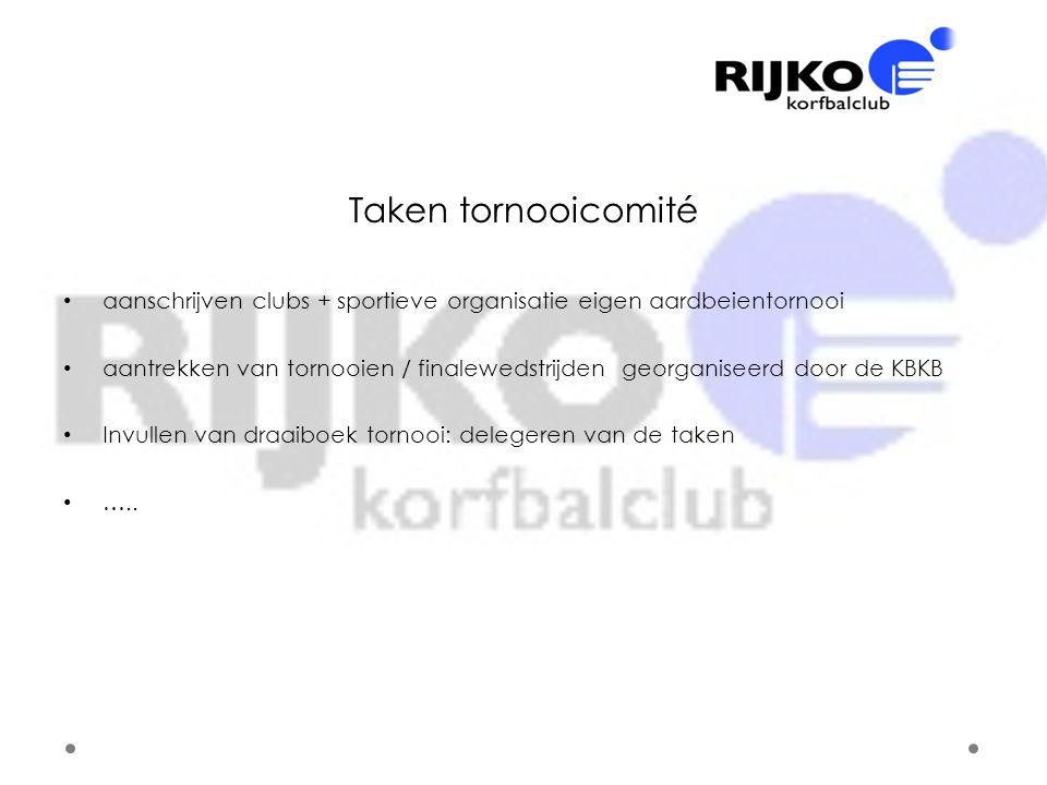 Taken tornooicomité aanschrijven clubs + sportieve organisatie eigen aardbeientornooi.