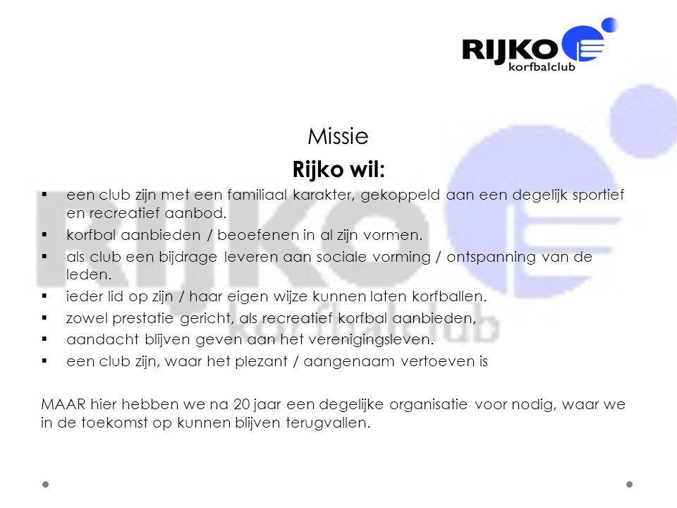 Missie Rijko wil: een club zijn met een familiaal karakter, gekoppeld aan een degelijk sportief en recreatief aanbod.