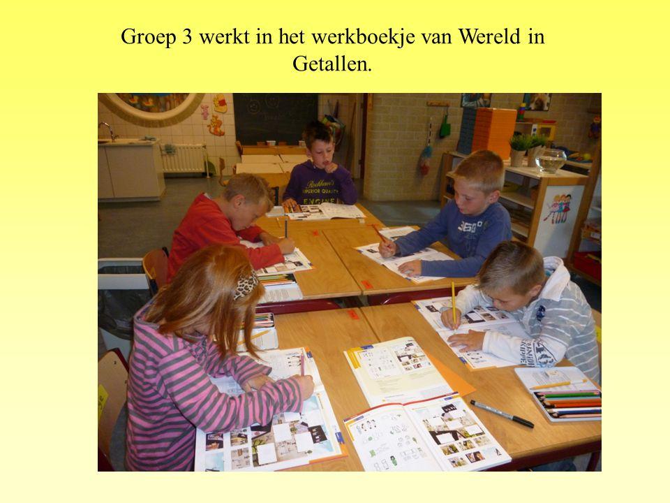 Groep 3 werkt in het werkboekje van Wereld in Getallen.
