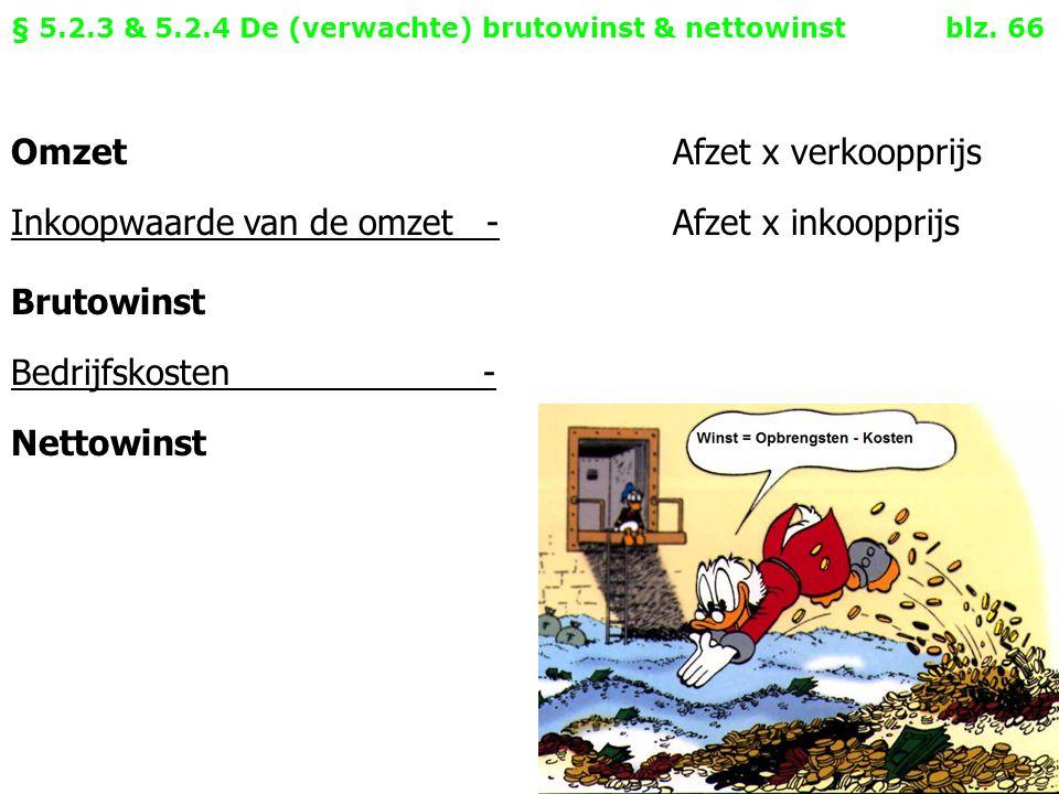 § 5.2.3 & 5.2.4 De (verwachte) brutowinst & nettowinst blz. 66