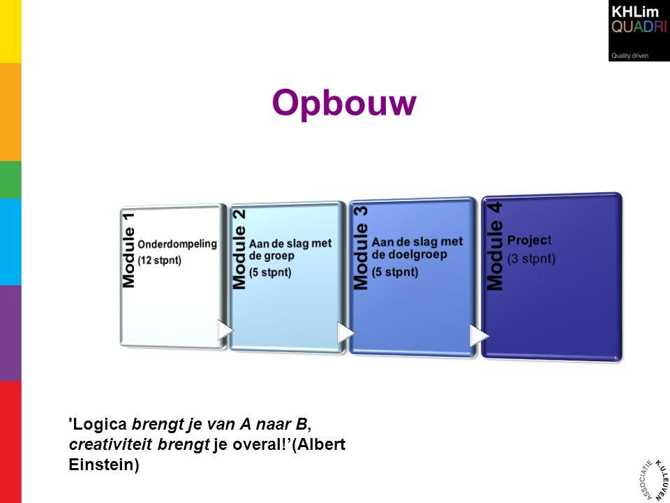 Opbouw Module 1. Onderdompeling (12 stpnt) Module 2. Aan de slag met de groep (5 stpnt) Module 3.