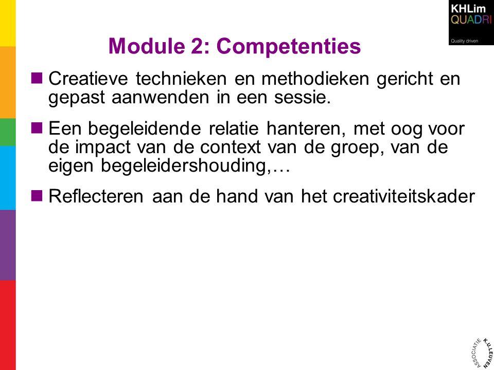 Module 2: Competenties Creatieve technieken en methodieken gericht en gepast aanwenden in een sessie.