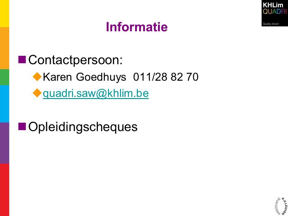 Informatie Contactpersoon: Opleidingscheques