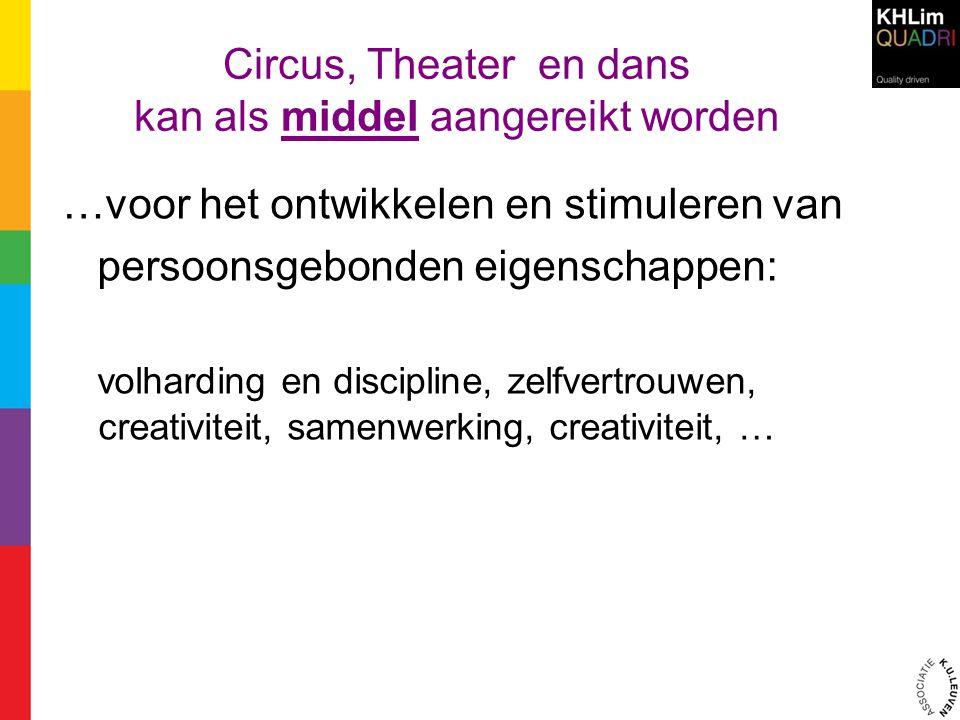 Circus, Theater en dans kan als middel aangereikt worden