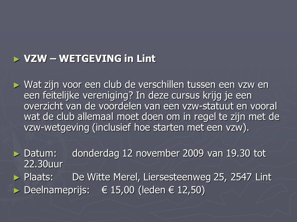 VZW – WETGEVING in Lint