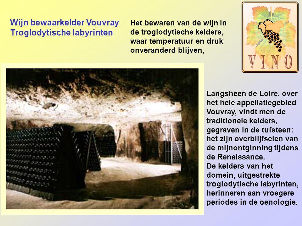 Wijn bewaarkelder Vouvray Troglodytische labyrinten