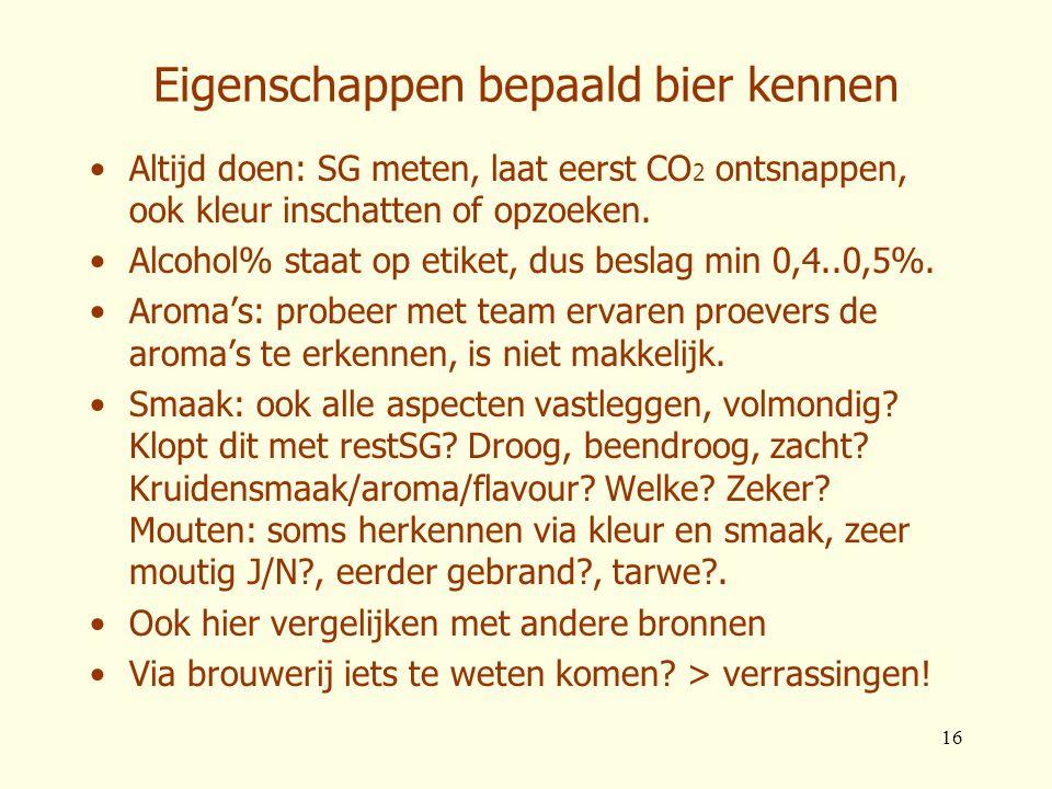 Eigenschappen bepaald bier kennen