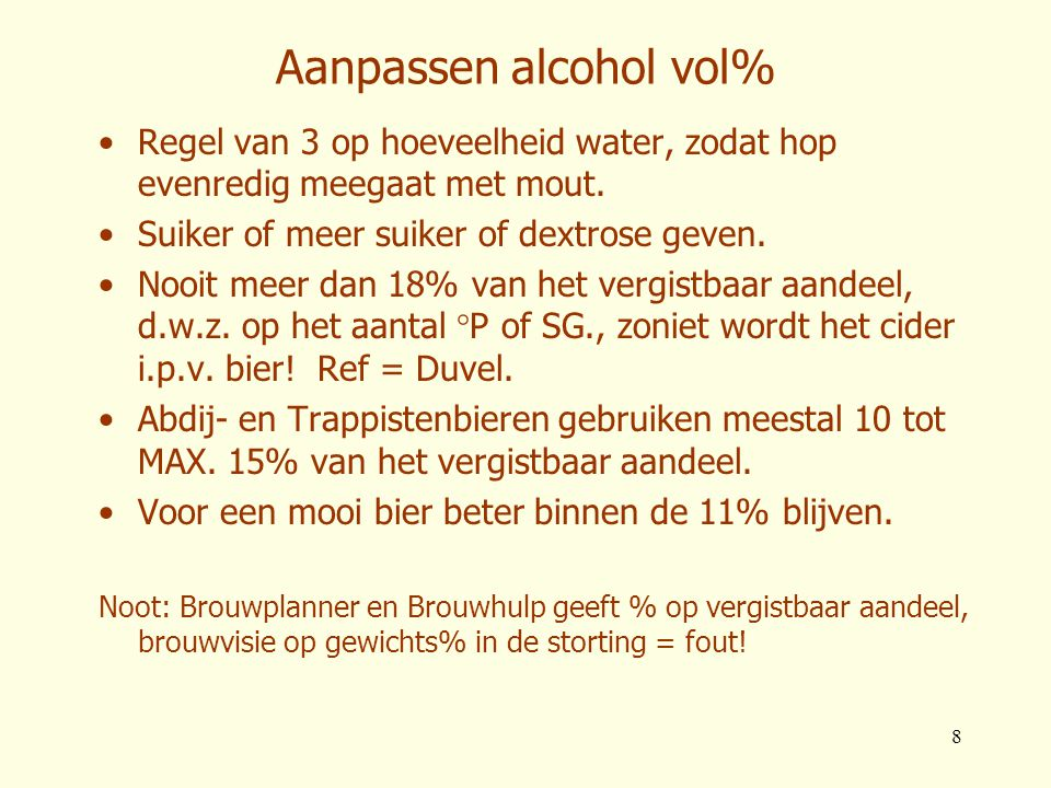Aanpassen alcohol vol%
