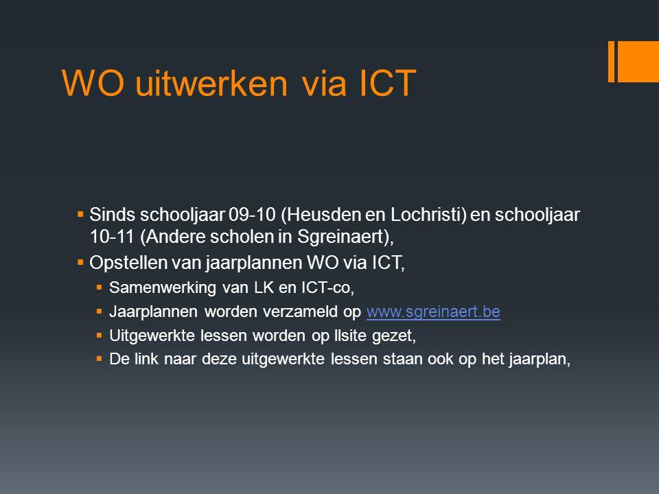 WO uitwerken via ICT Sinds schooljaar 09-10 (Heusden en Lochristi) en schooljaar 10-11 (Andere scholen in Sgreinaert),