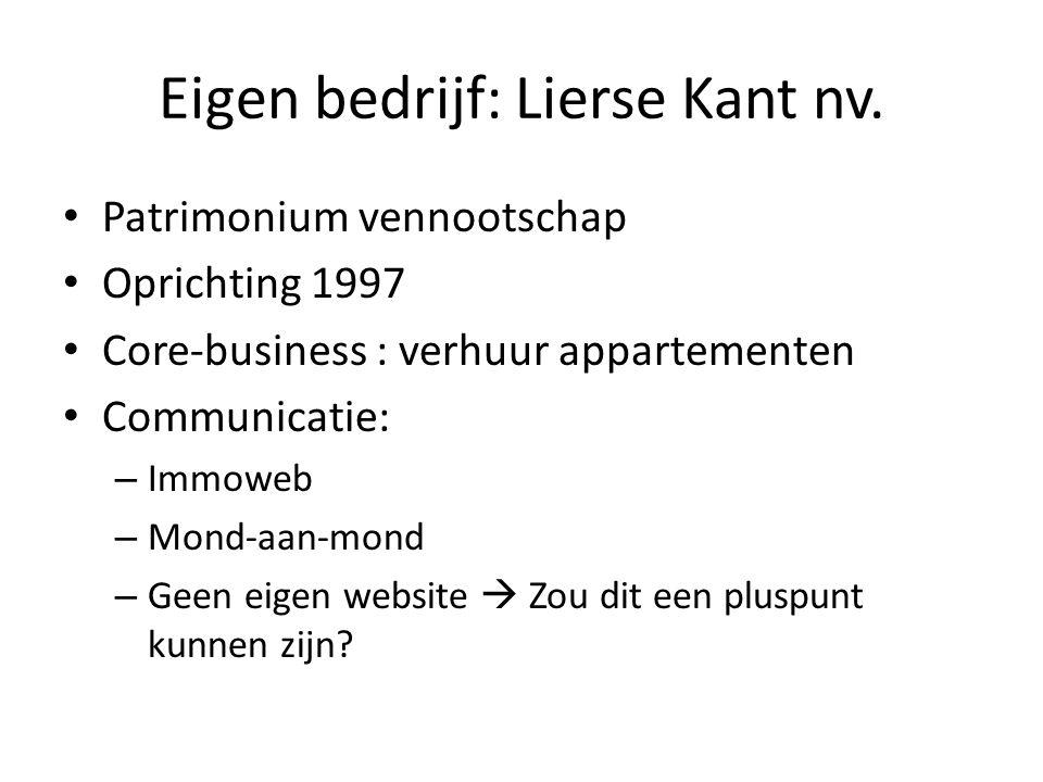 Eigen bedrijf: Lierse Kant nv.