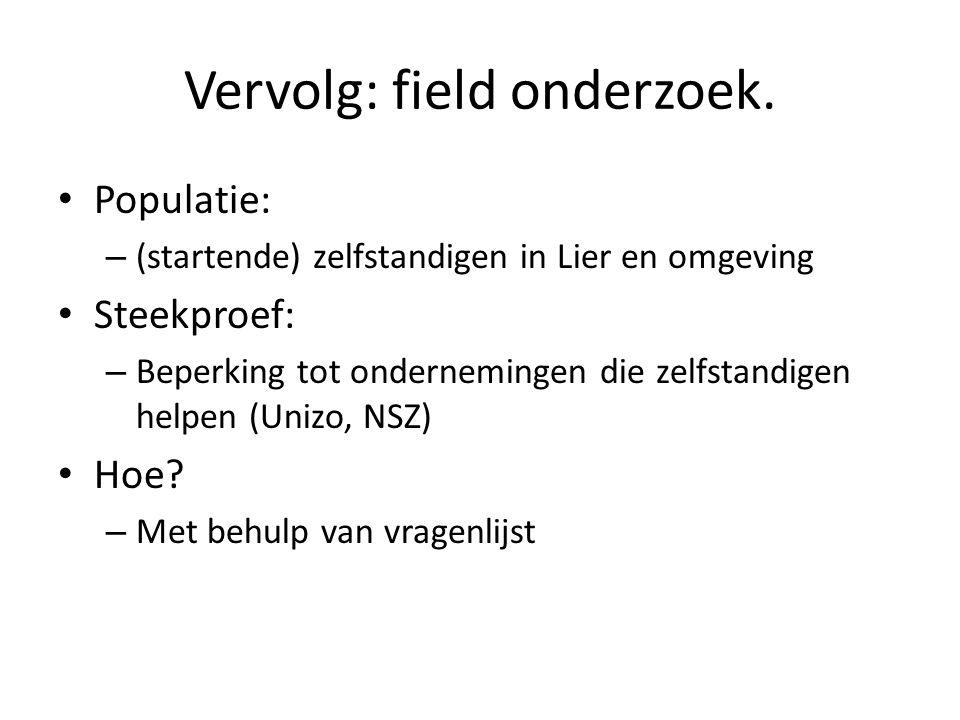 Vervolg: field onderzoek.