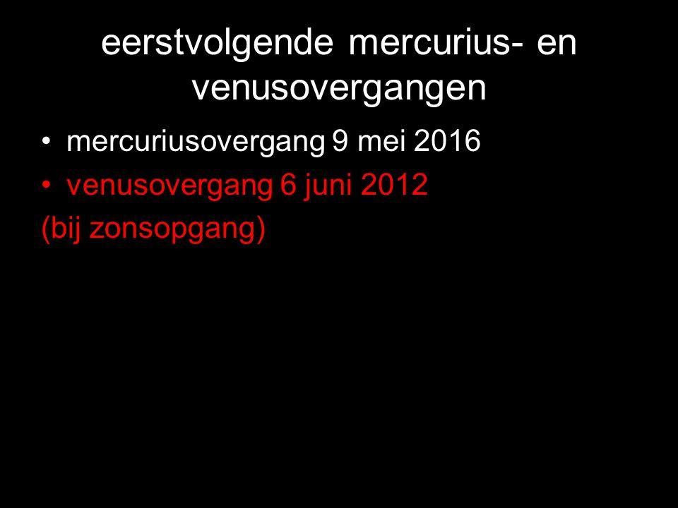 eerstvolgende mercurius- en venusovergangen