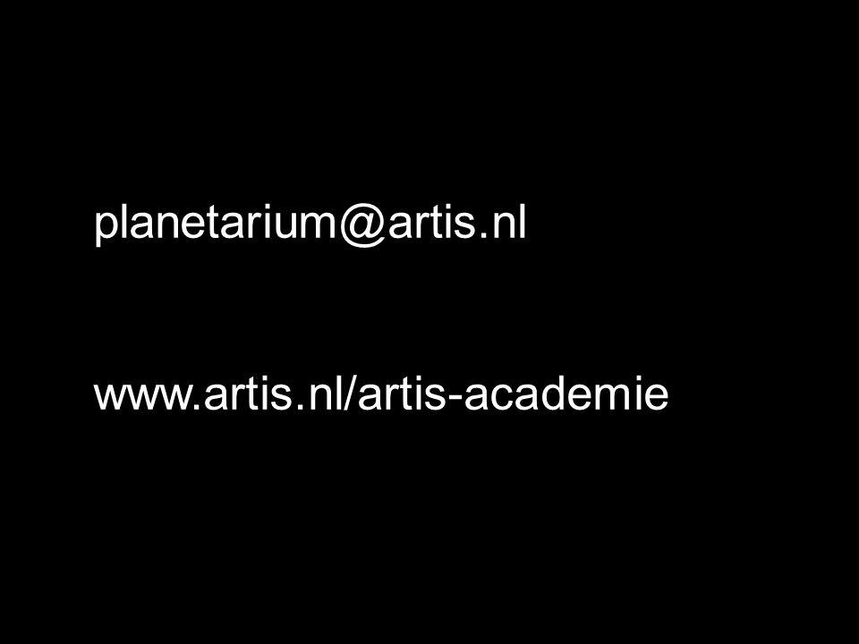 planetarium@artis.nl www.artis.nl/artis-academie