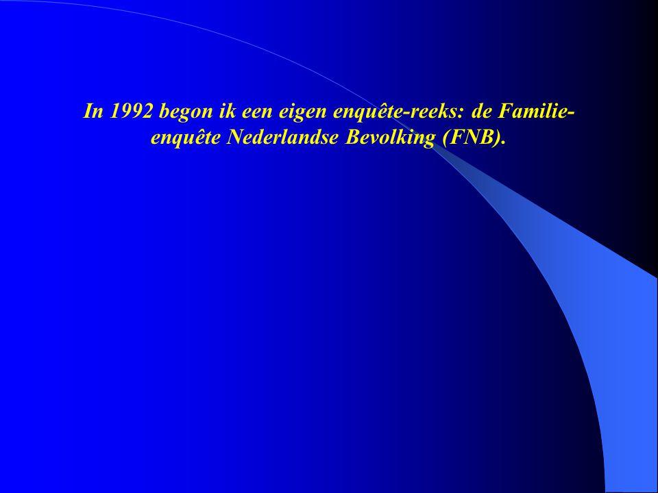 In 1992 begon ik een eigen enquête-reeks: de Familie-enquête Nederlandse Bevolking (FNB).