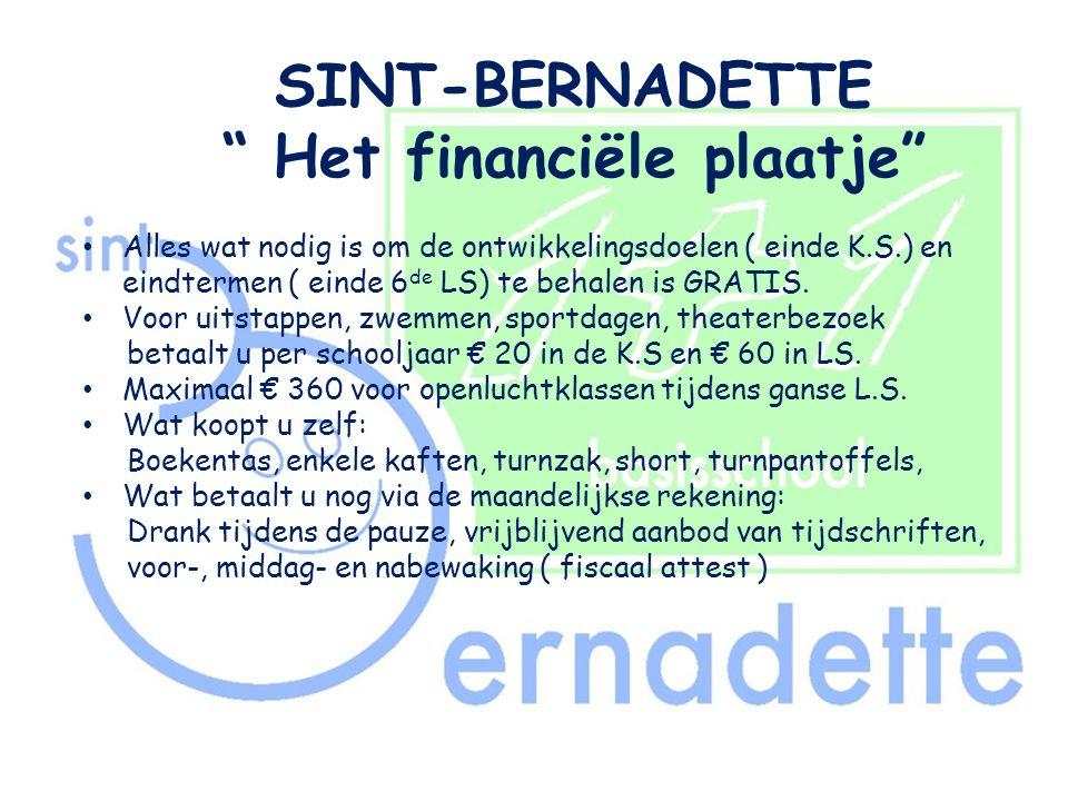 SINT-BERNADETTE Het financiële plaatje