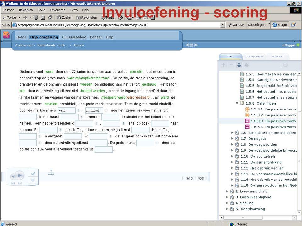Invuloefening - scoring