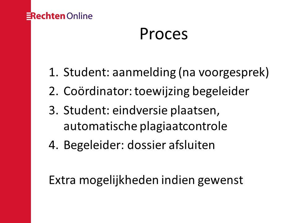 Proces Student: aanmelding (na voorgesprek)