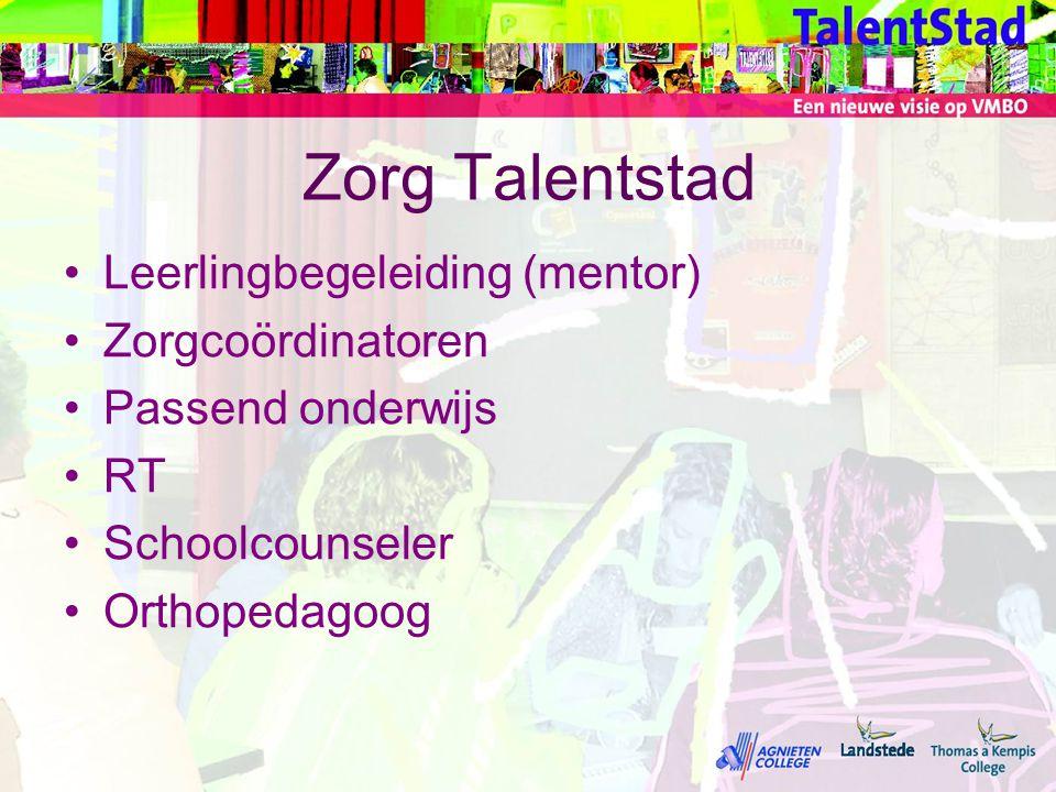 Zorg Talentstad Leerlingbegeleiding (mentor) Zorgcoördinatoren