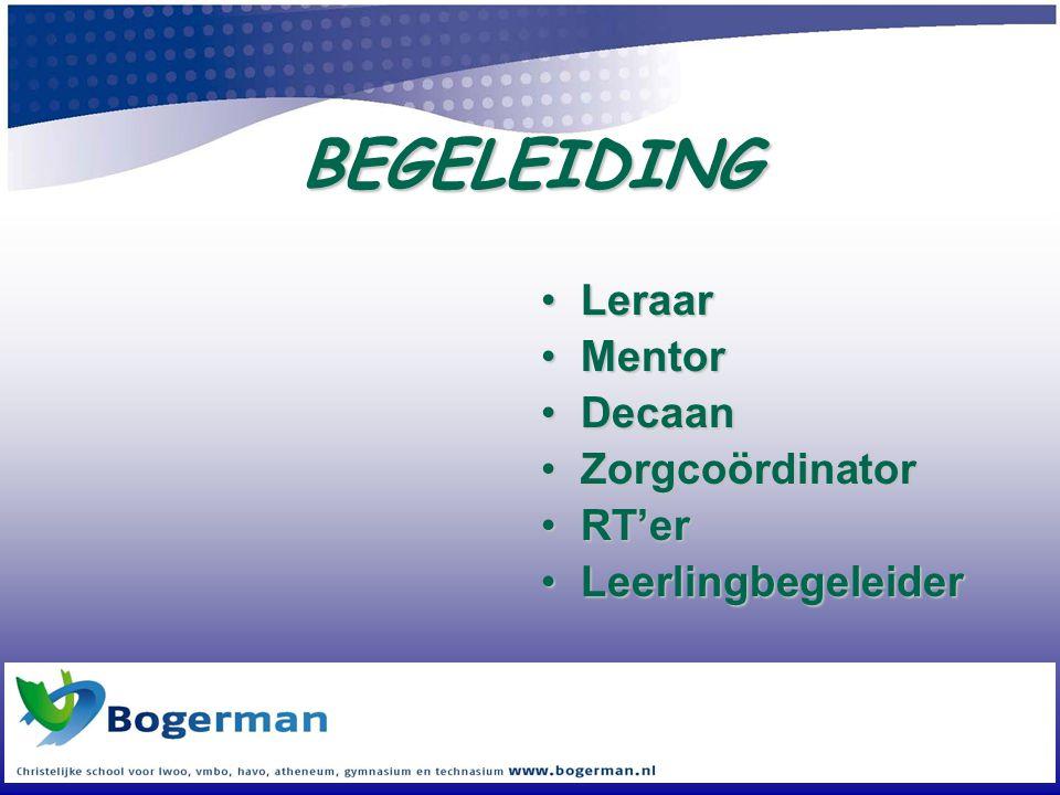 BEGELEIDING Leraar Mentor Decaan Zorgcoördinator RT'er