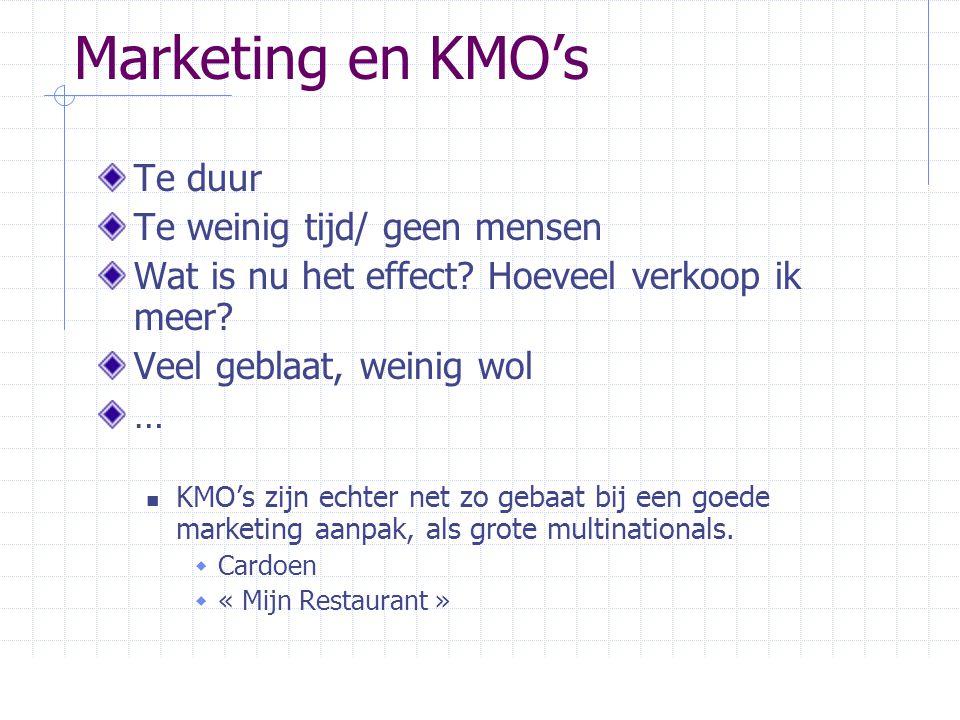 Marketing en KMO's Te duur Te weinig tijd/ geen mensen