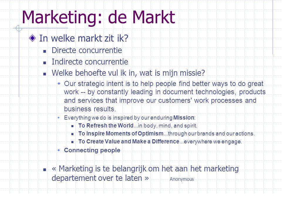 Marketing: de Markt In welke markt zit ik Directe concurrentie