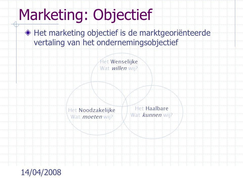 Marketing: Objectief Het marketing objectief is de marktgeoriënteerde vertaling van het ondernemingsobjectief.