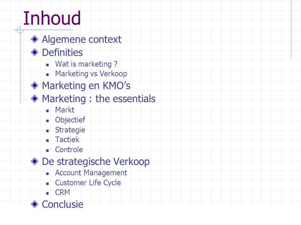 Inhoud Algemene context Definities Marketing en KMO's