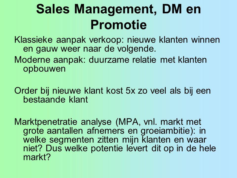 Sales Management, DM en Promotie