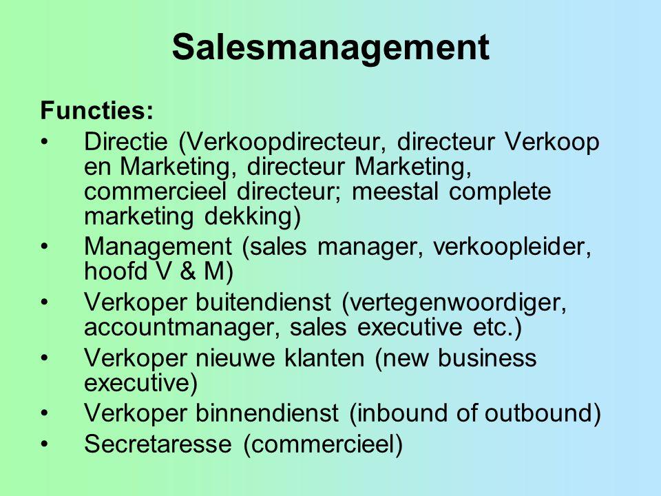 Salesmanagement Functies: