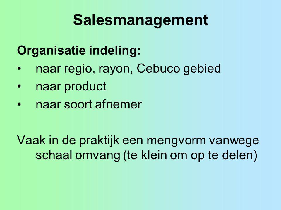Salesmanagement Organisatie indeling: naar regio, rayon, Cebuco gebied