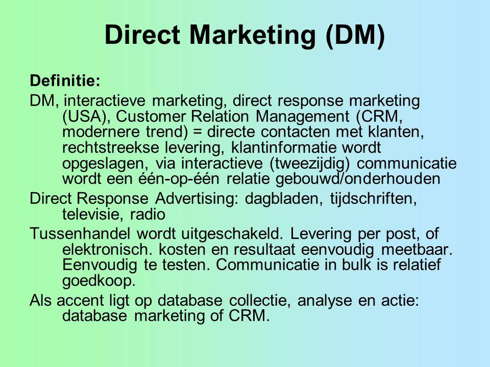 Direct Marketing (DM) Definitie: