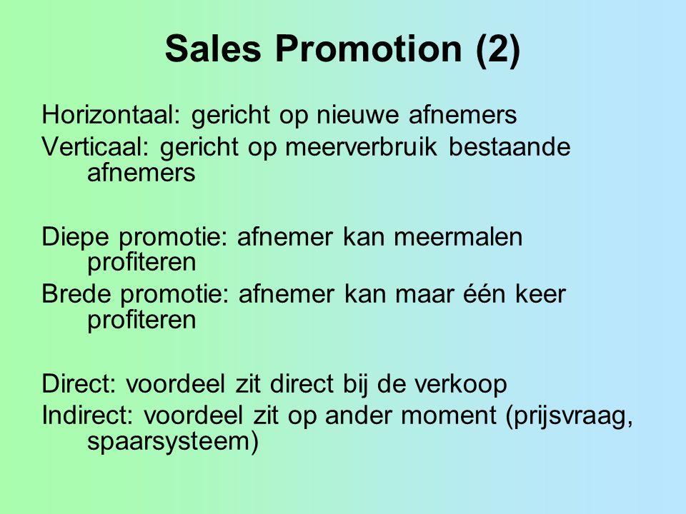 Sales Promotion (2) Horizontaal: gericht op nieuwe afnemers