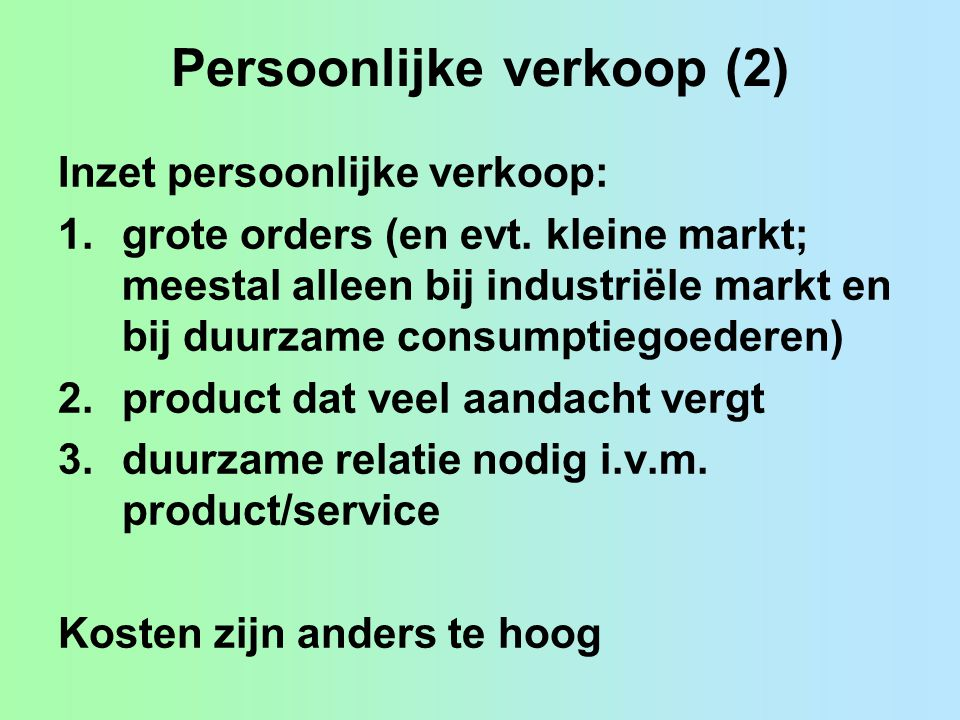 Persoonlijke verkoop (2)