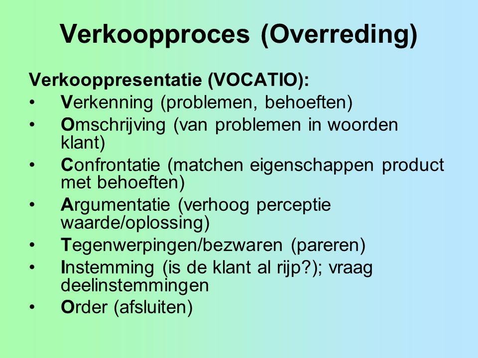Verkoopproces (Overreding)