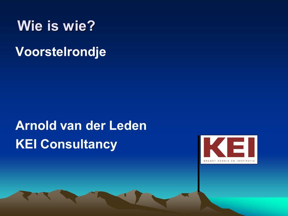 Wie is wie Voorstelrondje Arnold van der Leden KEI Consultancy