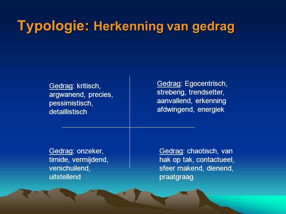 Typologie: Herkenning van gedrag