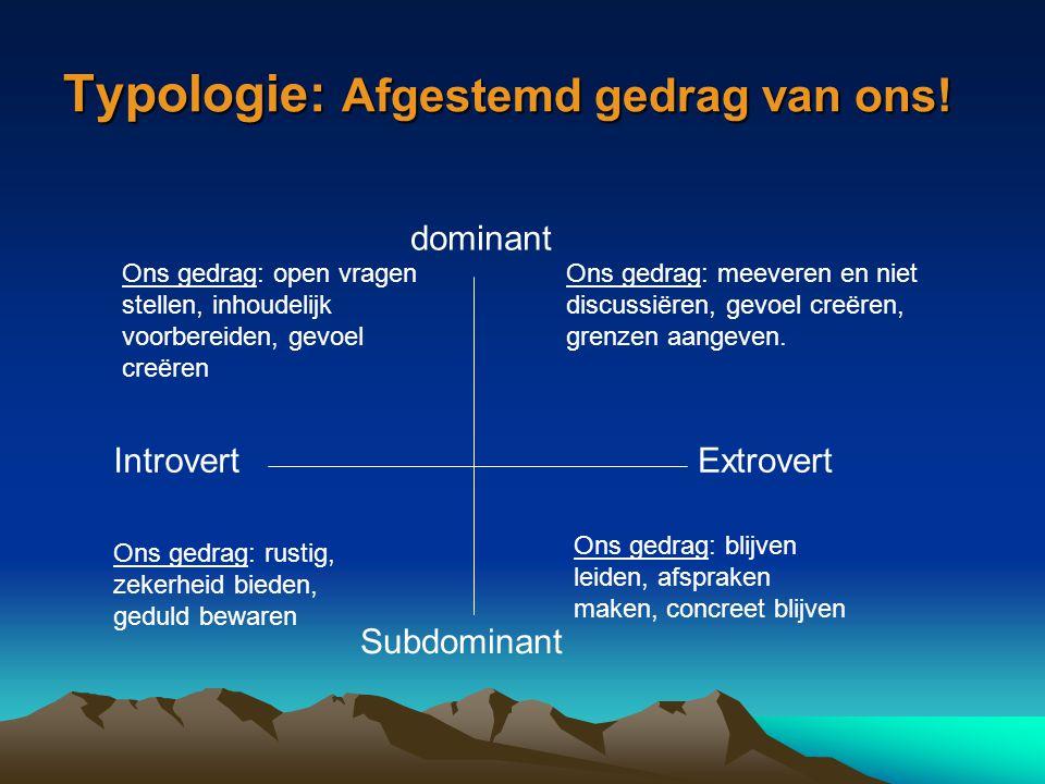 Typologie: Afgestemd gedrag van ons!