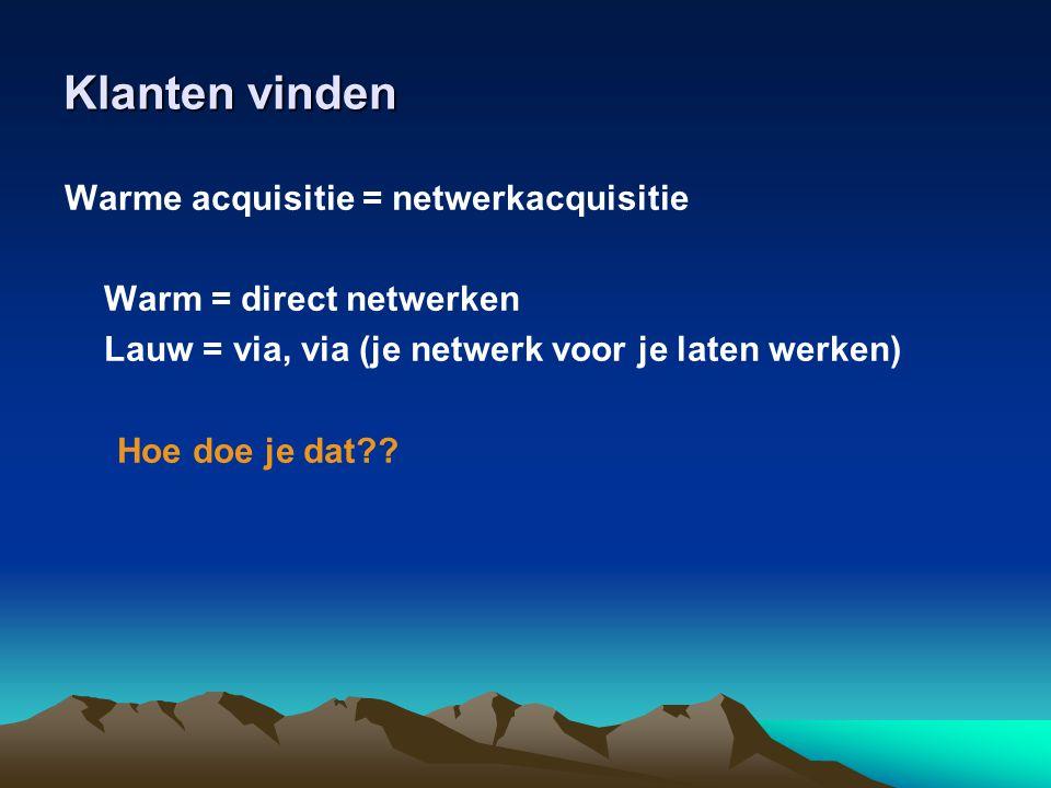 Klanten vinden Warme acquisitie = netwerkacquisitie
