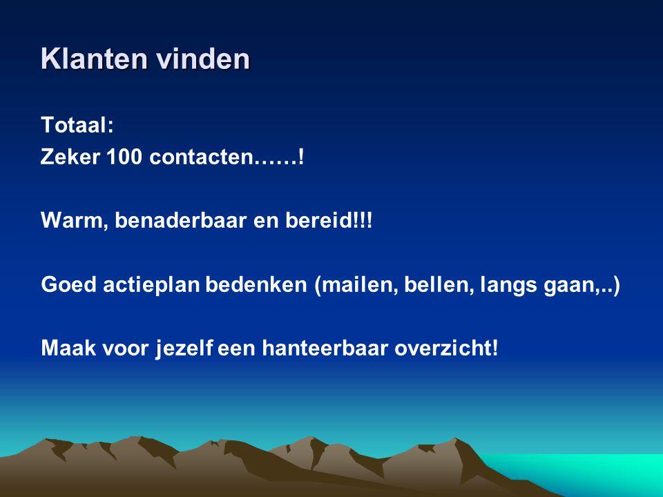 Klanten vinden Totaal: Zeker 100 contacten……!