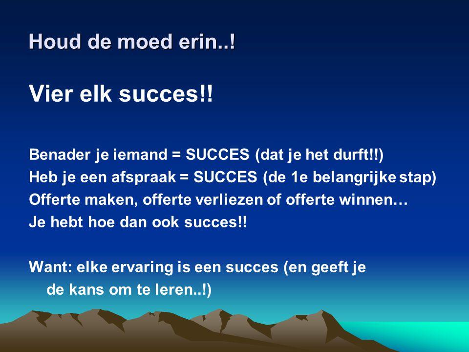 Vier elk succes!! Houd de moed erin..!