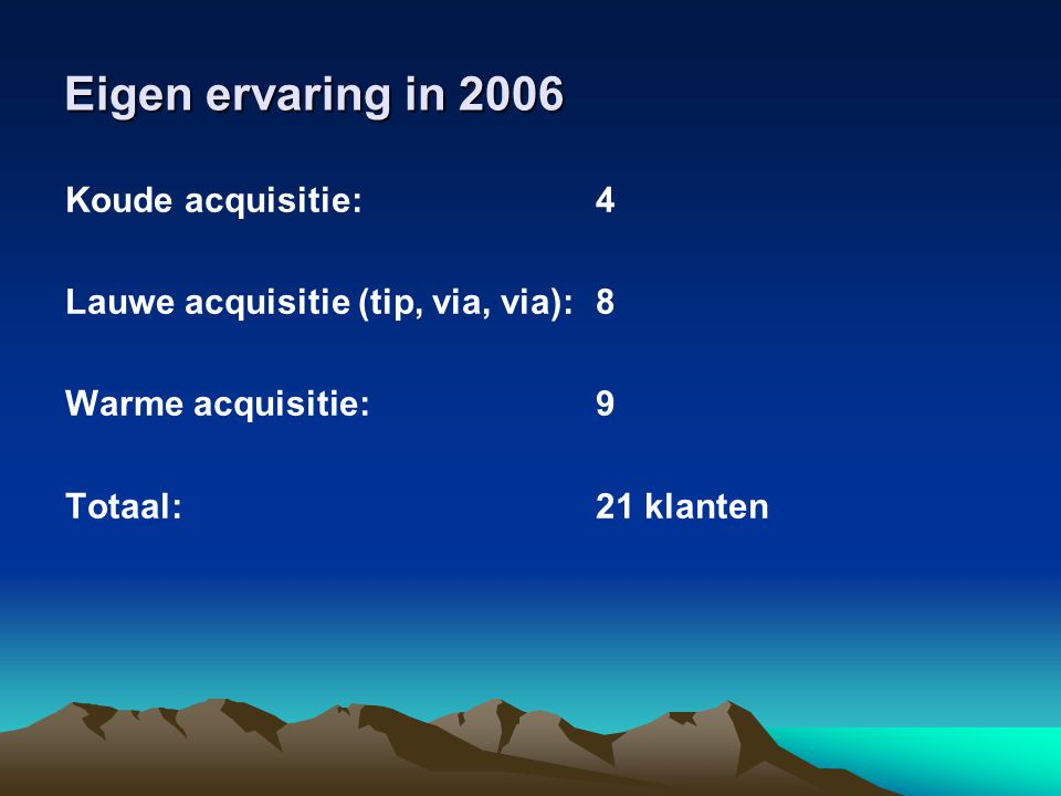 Eigen ervaring in 2006 Koude acquisitie: 4