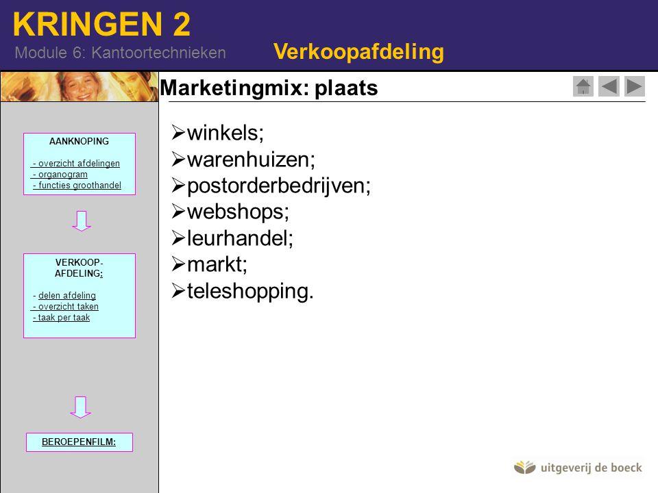 Verkoopafdeling Marketingmix: plaats winkels; warenhuizen;