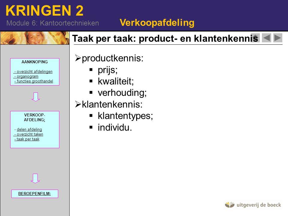 Taak per taak: product- en klantenkennis