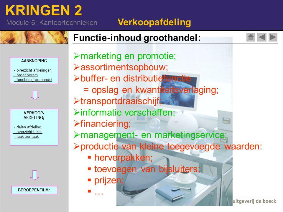 Functie-inhoud groothandel: marketing en promotie; assortimentsopbouw;