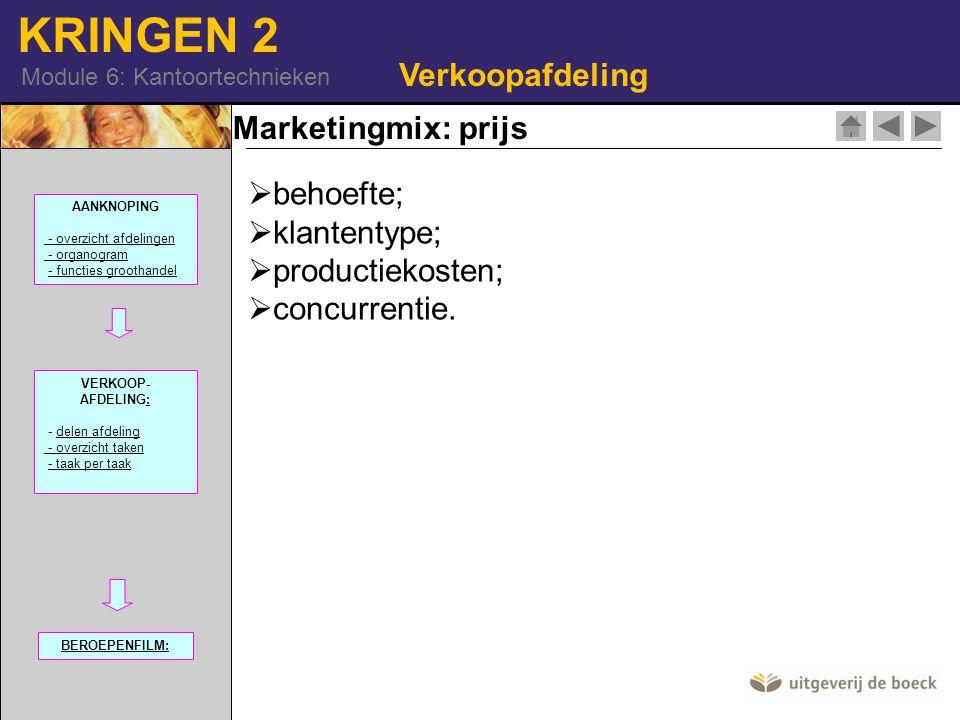Verkoopafdeling Marketingmix: prijs behoefte; klantentype;