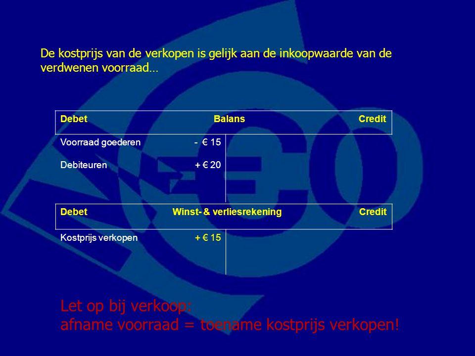 Let op bij verkoop: afname voorraad = toename kostprijs verkopen!