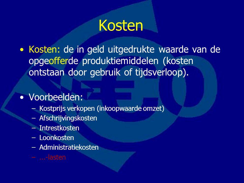 Kosten Kosten: de in geld uitgedrukte waarde van de opgeofferde produktiemiddelen (kosten ontstaan door gebruik of tijdsverloop).