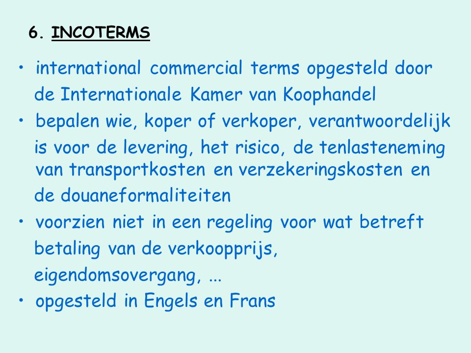 international commercial terms opgesteld door